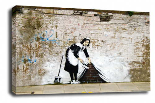 Banksy Art Maid Carpet Sweeper Wall Canvas Peace Love Picture